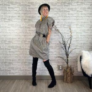 Vintage 80s Style Snap Front Drop Waist Dress
